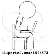 Sketch Design Mascot Woman Using Laptop Computer While Sitting In Chair View From Side by Leo Blanchette