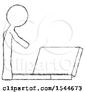 Sketch Design Mascot Man Using Large Laptop Computer Side Orthographic View by Leo Blanchette