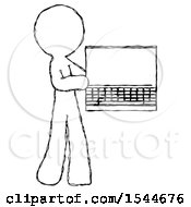 Sketch Design Mascot Man Holding Laptop Computer Presenting Something On Screen by Leo Blanchette