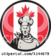 Retro Male Chef In A Canadian Flag Circle
