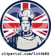 Poster, Art Print Of Retro Male Chef In A Union Jack Flag Circle