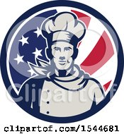 Retro Male Chef In An American Flag Circle
