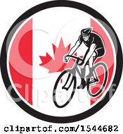 Clipart Of A Retro Male Cyclist Riding A Bicycle In A Canadian Flag Circle Royalty Free Vector Illustration by patrimonio