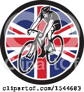 Clipart Of A Retro Male Cyclist Riding A Bicycle In A Union Jack Flag Circle Royalty Free Vector Illustration by patrimonio