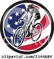 Clipart Of A Retro Male Cyclist Riding A Bicycle In An American Flag Circle Royalty Free Vector Illustration by patrimonio
