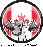 Clipart Of A Retro Bodybuilder Arm Holding Up A Bent Barbell And Kettlebell In A Canadian Flag Circle Royalty Free Vector Illustration