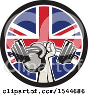Clipart Of A Retro Bodybuilder Arm Holding Up A Bent Barbell And Kettlebell In A Union Jack Flag Circle Royalty Free Vector Illustration