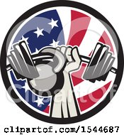 Clipart Of A Retro Bodybuilder Arm Holding Up A Bent Barbell And Kettlebell In An American Flag Circle Royalty Free Vector Illustration