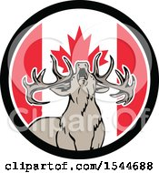 Roaring Deer In A Canadian Flag Circle