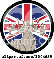 Poster, Art Print Of Roaring Deer In A Union Jack Flag Circle