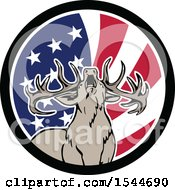 Roaring Deer In An American Flag Circle