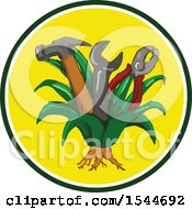 Clipart Of A Hammer Spanner Wrench And Pliers Growing In An Agave Plant Inside A Circle Royalty Free Vector Illustration