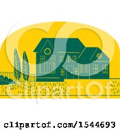 Clipart Of A Retro Styled House And Yard In A Yellow Half Circle Royalty Free Vector Illustration