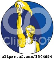 Poster, Art Print Of Sketched Male Track And Field Athlete Holding Up A Torch In A Blue Circle