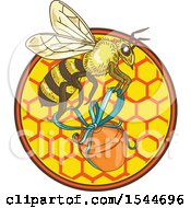Clipart Of A Sketched Worker Bee Flying With A Jar Over Honeycombs Royalty Free Vector Illustration