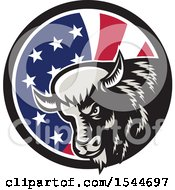 Poster, Art Print Of Retro Woodcut Angry Buffalo Bison Head In An American Flag Circle