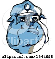 Clipart Of A Sketched Blue Bulldog Police Man Wearing A Hat Royalty Free Vector Illustration