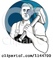Clipart Of A Sketched Male Trade Unionist Factory Worker Carrying A Hammer Over His Shoulder Royalty Free Vector Illustration