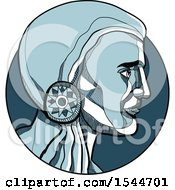 Clipart Of A Sketched Blue Profiled Native American Indian Brave In A Circle Royalty Free Vector Illustration