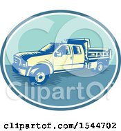 Clipart Of A Retro Woodcut Tipper Dump Pick Up Truck With An Open Box Bed Royalty Free Vector Illustration