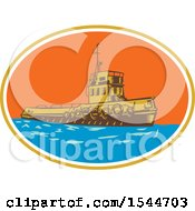 Clipart Of A Retro Woodcut Tugboat In An Oval Royalty Free Vector Illustration