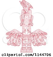 Clipart Of A Doodled Red Wolf And Eagle Totem Pole Royalty Free Vector Illustration