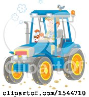 Clipart Of A White Male Farmer And His Dog Operating A Tractor Royalty Free Vector Illustration by Alex Bannykh