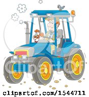Clipart Of A Caucasian Male Farmer And His Dog Operating A Tractor Royalty Free Vector Illustration