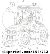 Clipart Of A Black And White Farmer And His Dog Operating A Tractor Royalty Free Vector Illustration