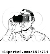 Clipart Of A Man Wearing Virtual Reality Goggles Royalty Free Vector Illustration