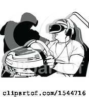 Clipart Of A Man Gaming And Wearing Virtual Reality Goggles Royalty Free Vector Illustration