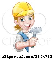 Clipart Of A White Female Carpenter Holding A Hammer Around A Sign Royalty Free Vector Illustration