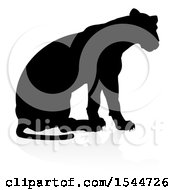 Clipart Of A Silhouetted Lioness With A Shadow On A White Background Royalty Free Vector Illustration by AtStockIllustration