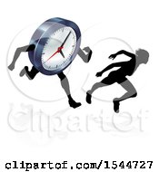 Clipart Of A Silhouetted Woman Racing A Clock Character Royalty Free Vector Illustration