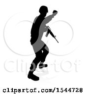 Clipart Of A Silhouetted Male Armed Soldier With A Reflection Or Shadow On A White Background Royalty Free Vector Illustration