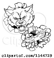 Poster, Art Print Of Black And White Wolf Mascot Holding A Video Game Controller And Breaking Through A Wall