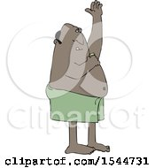 Clipart Of A Black Man Applying Deodorant After A Shower Royalty Free Vector Illustration