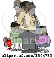 Clipart Of A Cartoon Black Father And His Kids Royalty Free Vector Illustration
