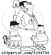Lineart Cartoon Black Father And His Kids