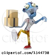 Clipart Of A 3d Blue Zombie Holding Boxes On A White Background Royalty Free Illustration by Julos