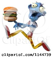 Clipart Of A 3d Blue Zombie Holding A Burger On A White Background Royalty Free Illustration by Julos