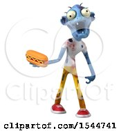 Clipart Of A 3d Blue Zombie Holding A Hot Dog On A White Background Royalty Free Illustration by Julos