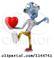 Clipart Of A 3d Blue Zombie Holding A Heart On A White Background Royalty Free Illustration by Julos