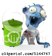 Clipart Of A 3d Blue Zombie Holding A Recycle Bin On A White Background Royalty Free Illustration by Julos