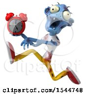 Clipart Of A 3d Blue Zombie Holding An Alarm Clock On A White Background Royalty Free Illustration by Julos