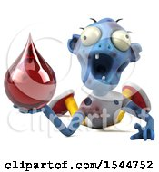Clipart Of A 3d Blue Zombie Holding A Blood Drop On A White Background Royalty Free Illustration by Julos