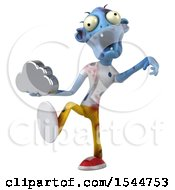 Clipart Of A 3d Blue Zombie Holding A Cloud On A White Background Royalty Free Illustration