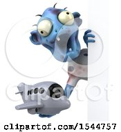 Clipart Of A 3d Blue Zombie Holding A Plane On A White Background Royalty Free Illustration by Julos