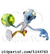 Clipart Of A 3d Blue Zombie Holding A Globe On A White Background Royalty Free Illustration by Julos