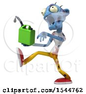 Clipart Of A 3d Blue Zombie Holding A Gas Can On A White Background Royalty Free Illustration by Julos